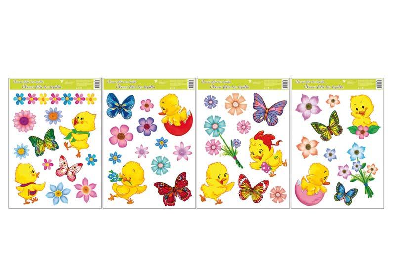 Okenní fólie velikonoční 790 kuřátka, květiny a motýlci 42x30cm