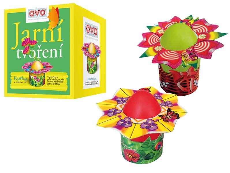 Velikonoční set OVO - květina - 4 barvy+8 květů+4 stojánky