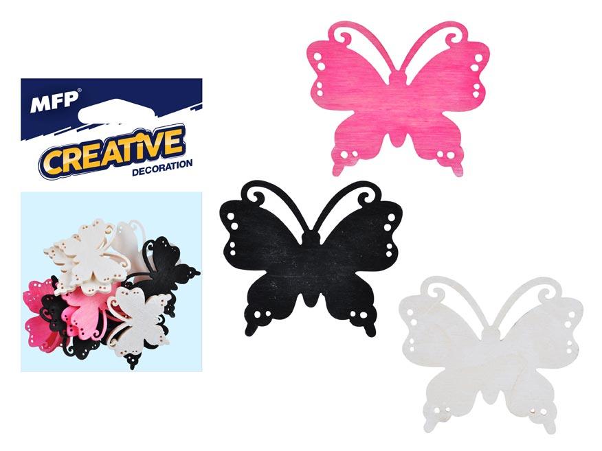 MFP 2221448 Dekorace motýl barevný 12ks 4cm mix