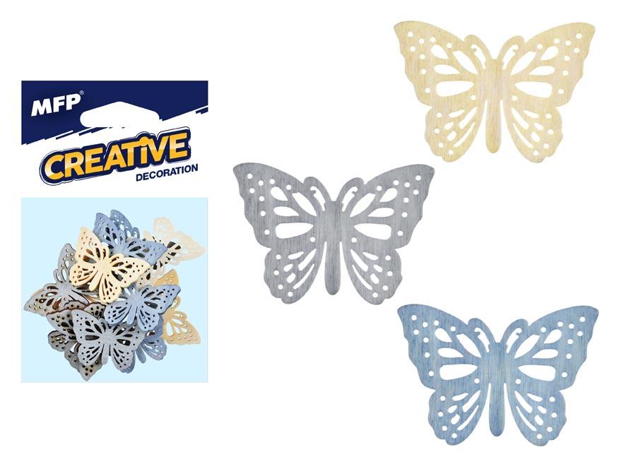 MFP 2221451 Dekorace motýl přírodní 12ks 4cm mix