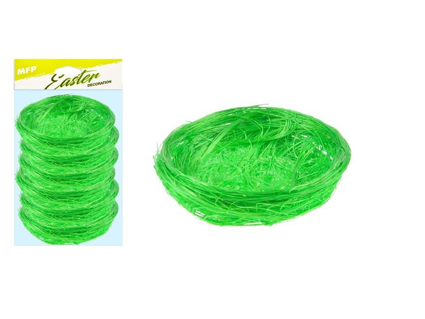 Hnízdo sisal 7cm 6ks - zelené