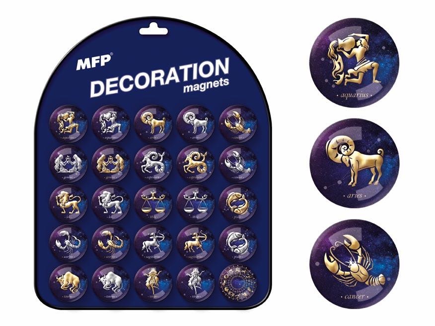 Magnet dekorační kulatý 3,5cm mix č.5 - horoskopy