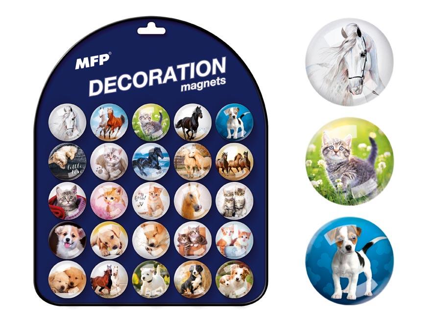 Magnet dekorační kulatý 3,5cm mix 6 - zvířata