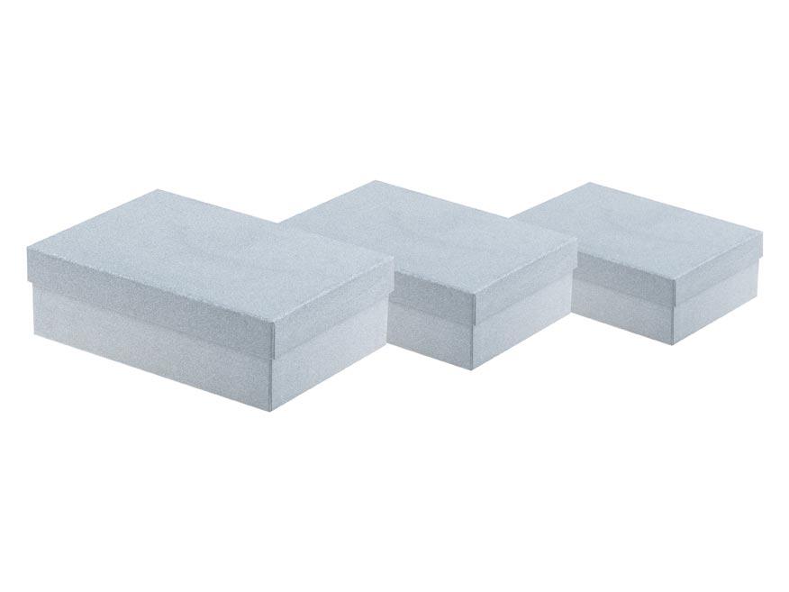 Krabice set 3ks glitr stříbrná