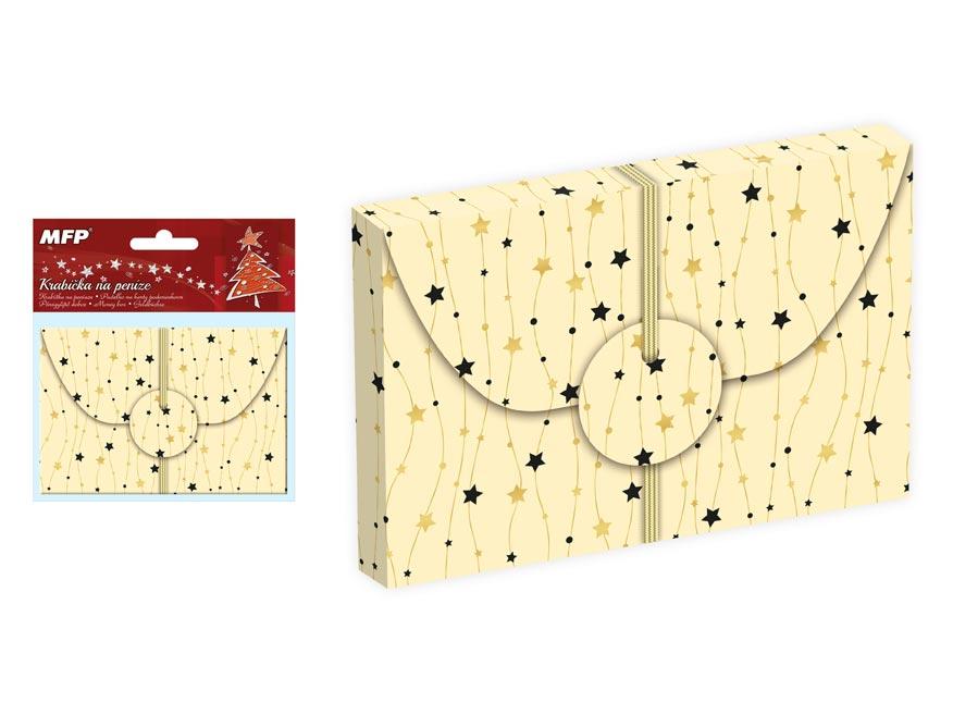 Krabička na peníze vánoční 12x8x1cm