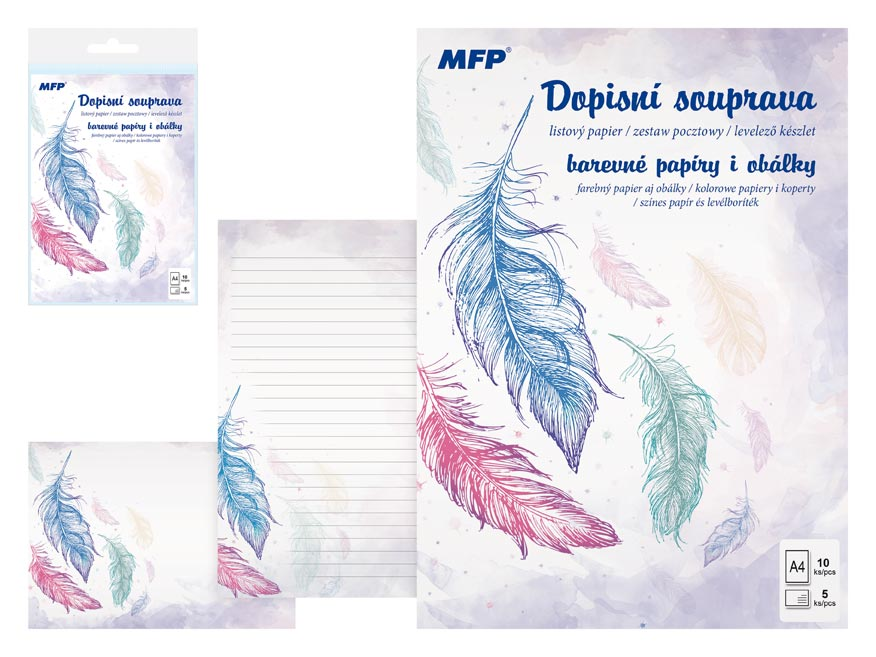MFP 5550289 Dopisní papír barevný LUX 5+10 (Peříčka)