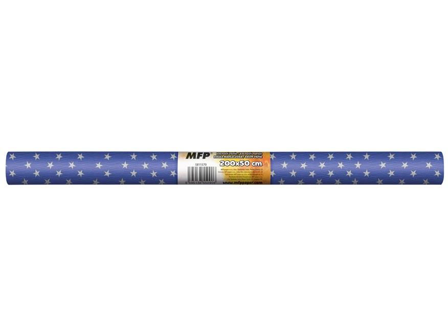 Krepový papír role 50x200cm modrý bílé hvězdy