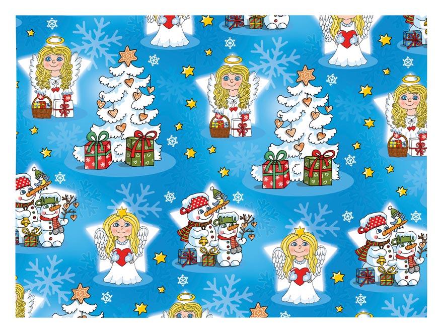 Vánoční balící papír klasik 100x70 cm dětský s anděly