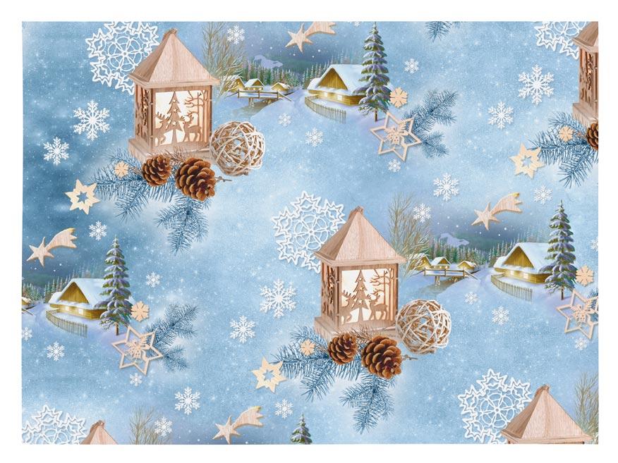 Vánoční balící papír klasik 100x70 cm s dřevěnou budkou