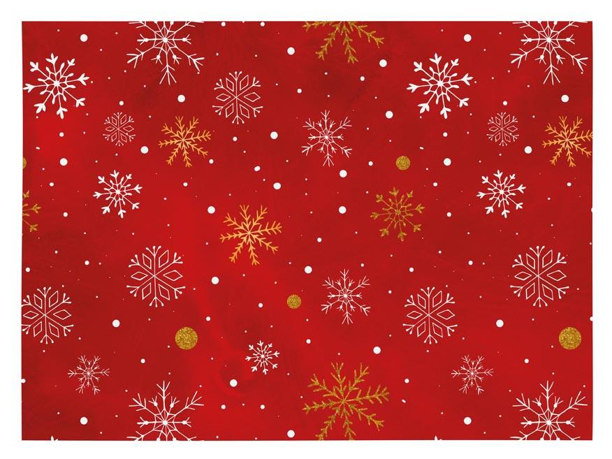 Vánoční balící papír klasik 100x70 cm červený s vločkami