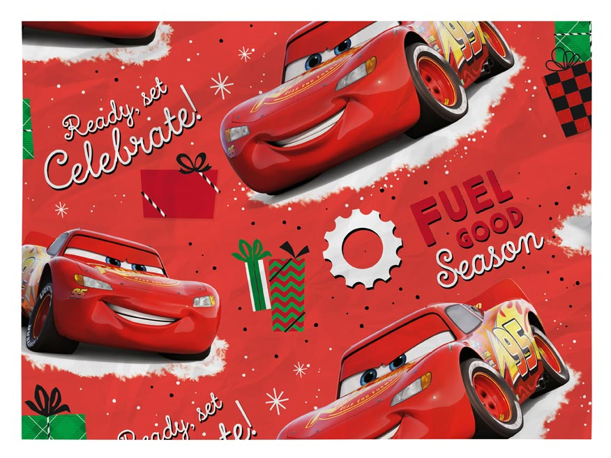 Disney Auta Vánoční balící papír LUX 100x70 cm Auta červený