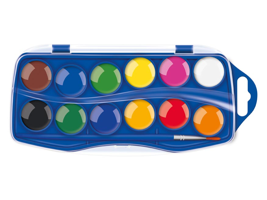 Barvy vodové 12 ks barev 25mm krabička