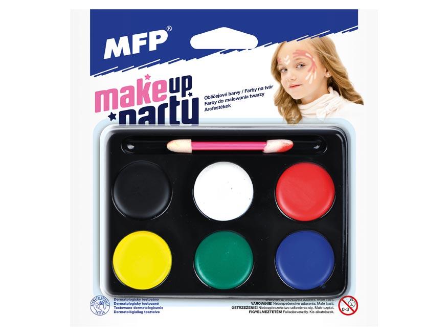 Barvy na obličej se štětečkem - 6 ks barev