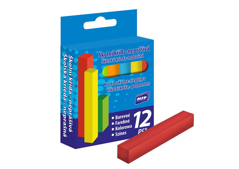 MFP křídy M barevné čtyřhranné 12ks v krabičce neprášivá
