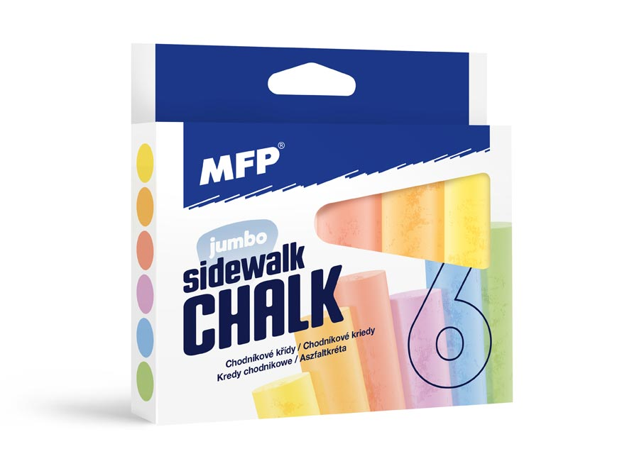 MFP křídy M chodníkové kulaté 6ks mix barev - krabička
