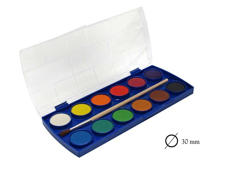 Barvy vodové PAP 12 30mm WCDU-1230 + štětec