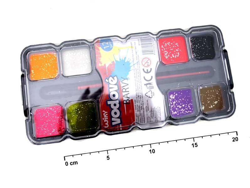 Barvy vodové 12 barev 811210 glitter + štětec