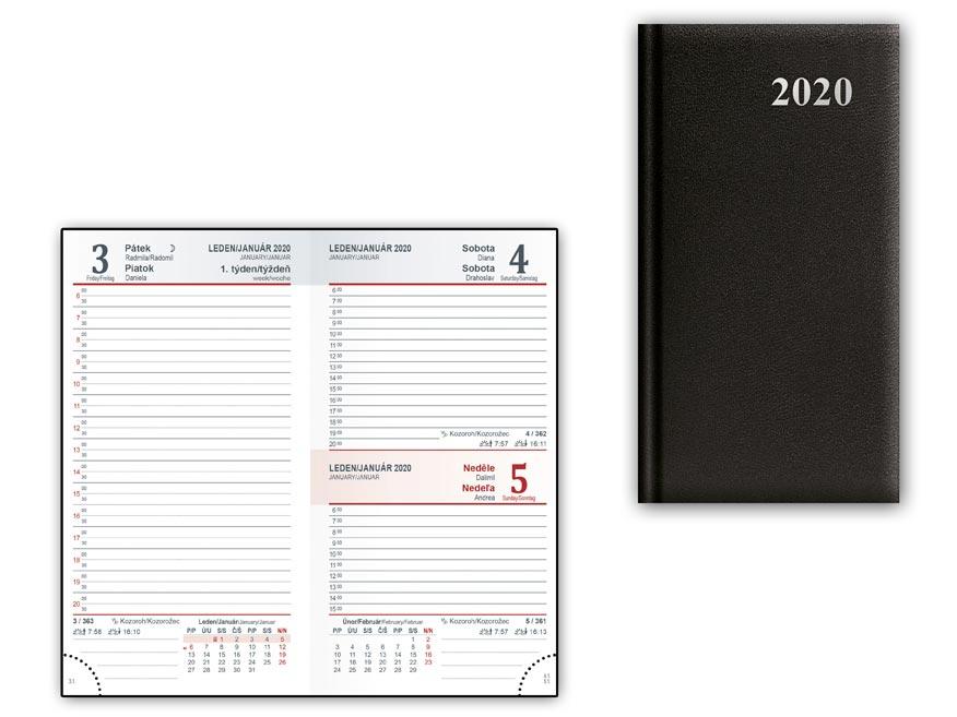 Diář 2020 D802 PVC Black 90x170 mm