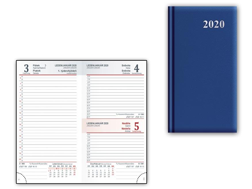 Diář 2020 D802 PVC Blue 90x170 mm