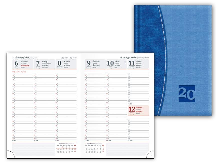 Diář 2020 T805 PU Blue-blue