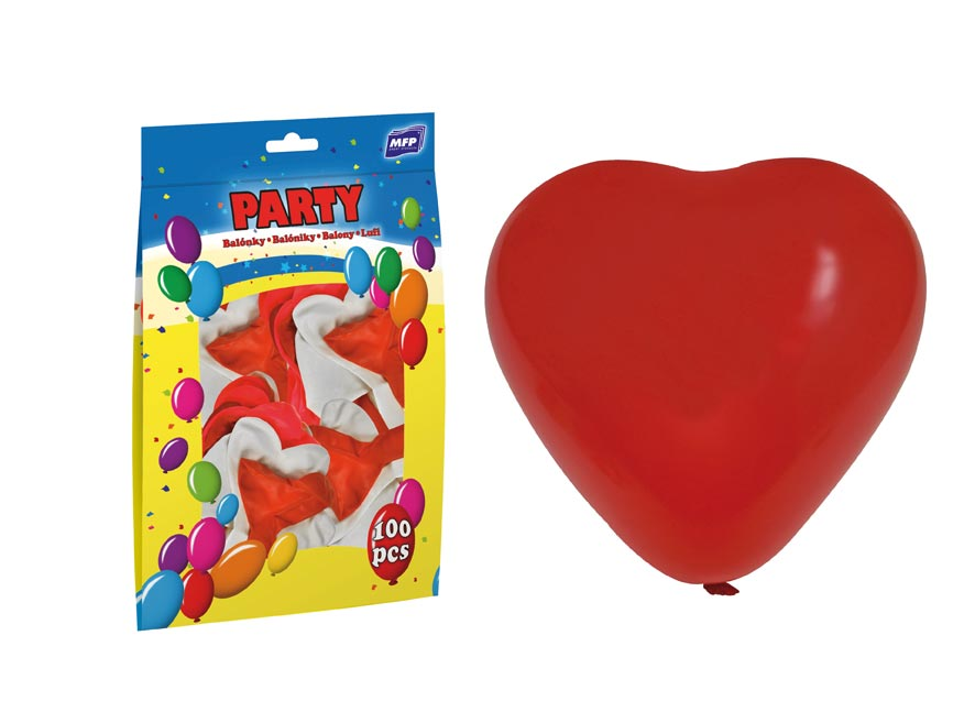 Balónek nafukovací srdce 30cm mix