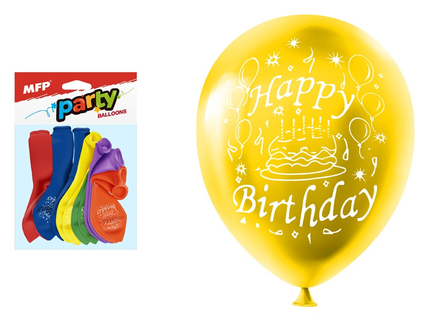 MFP 8000132 Balónek nafukovací 12ks sáček standard 23cm Happy Birthday mix