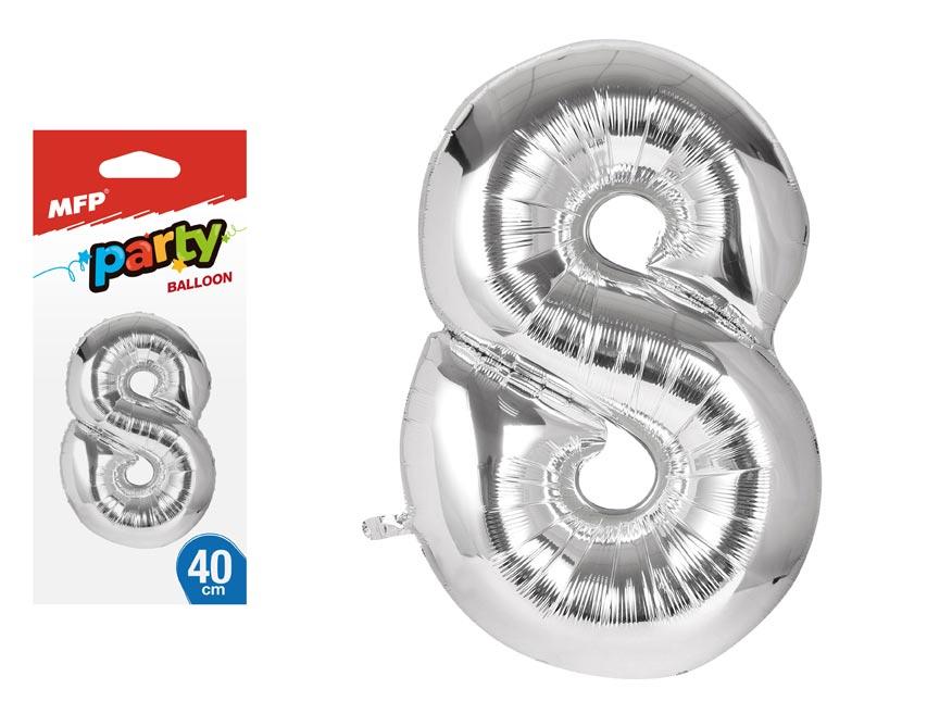 Balónek č. 8 nafukovací fóliový 40 cm