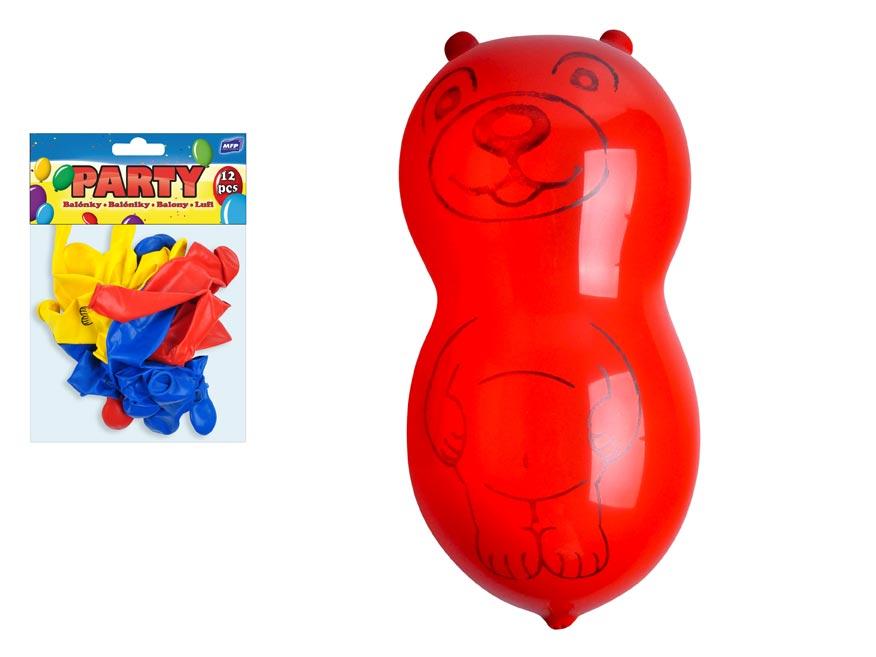 Balónek nafukovací 12ks sáček standard medvěd
