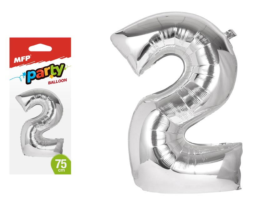 Balónek č. 2 nafukovací fóliový 75 cm