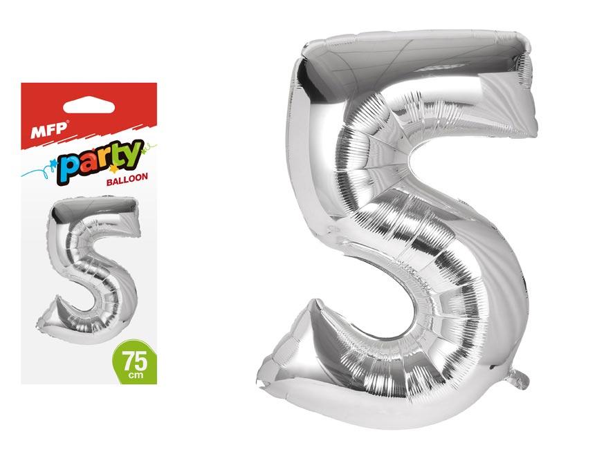Balónek č. 5 nafukovací fóliový 75 cm