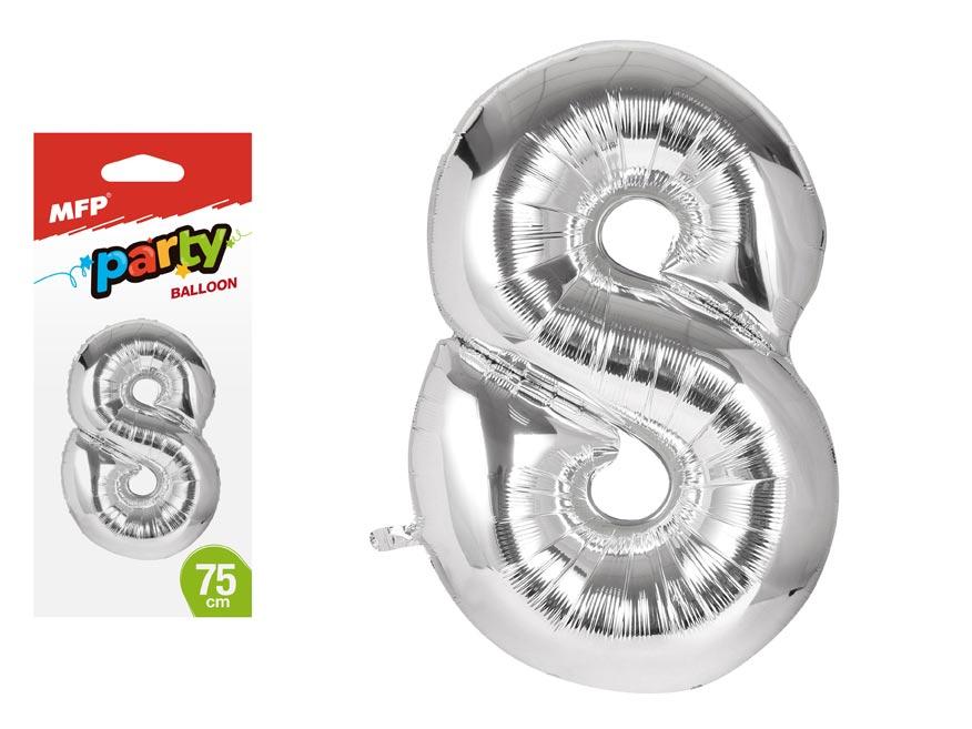 Balónek č. 8 nafukovací fóliový 75 cm