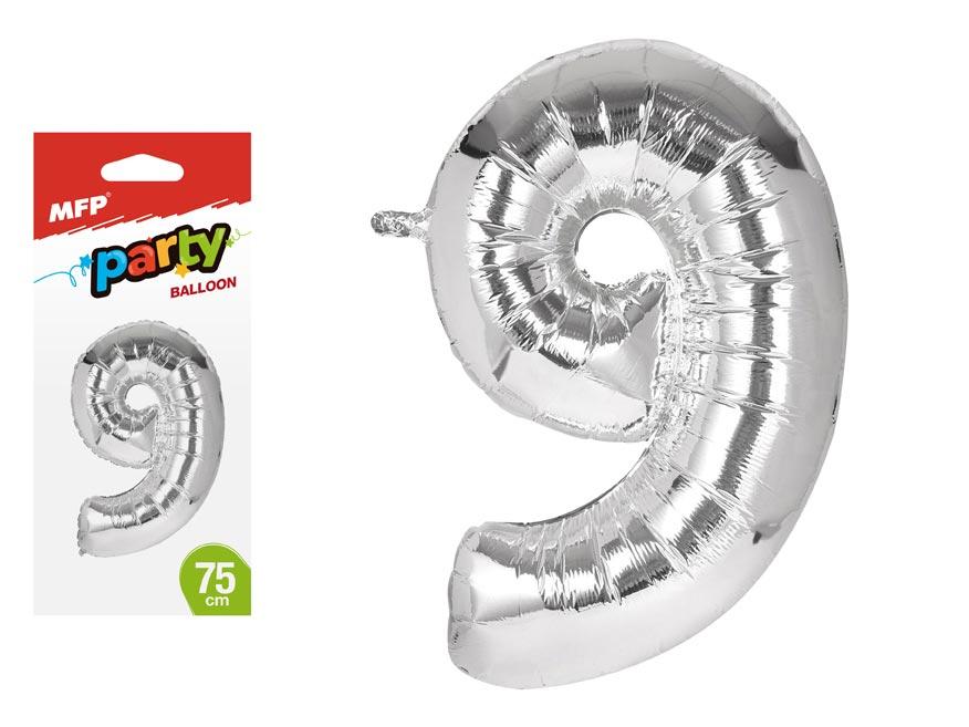 Balónek č. 9 nafukovací fóliový 75 cm