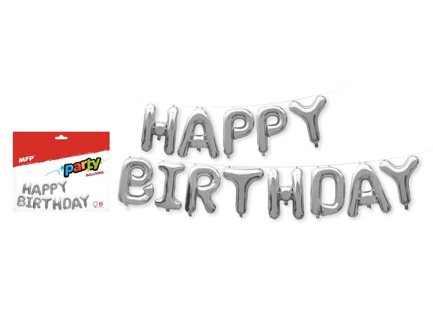 MFP 8000172 Balónky nafukovací fóliové- HAPPY BIRTHDAY - 40cm - stříbrný