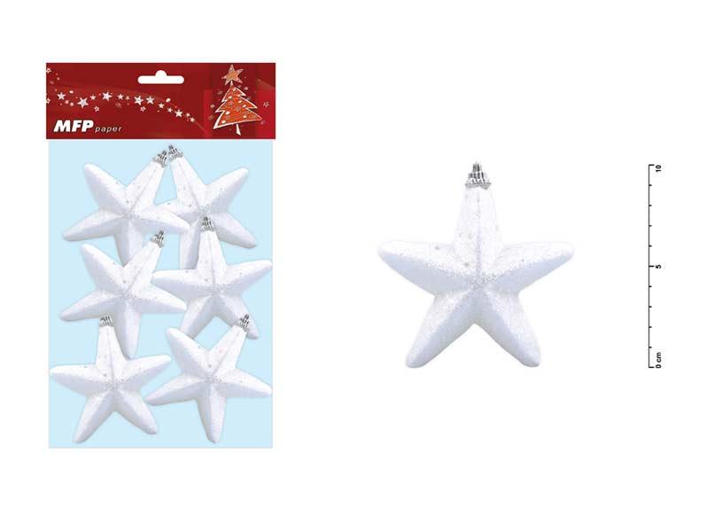Hvězda 10cm/6ks s glitrem