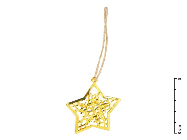 MFP hvězda kov zlatá 3D 4,5cm - závěs