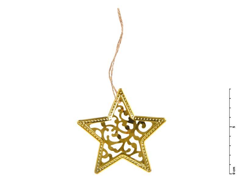 MFP hvězda kov zlatá 9 cm - závěs