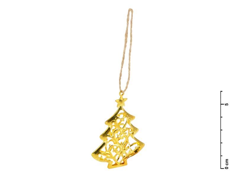 Stromek kov 3D zlatý 6cm - závěs