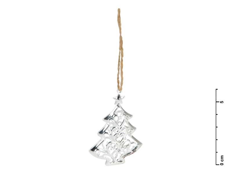 Stromek kov 3D stříbrný 6cm - závěs