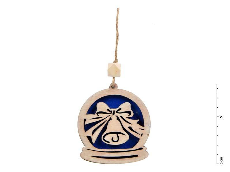 Závěs dřevo zvonek 7,5cm - modrý