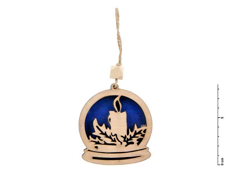Závěs dřevo svíčka 7,5cm - modrý