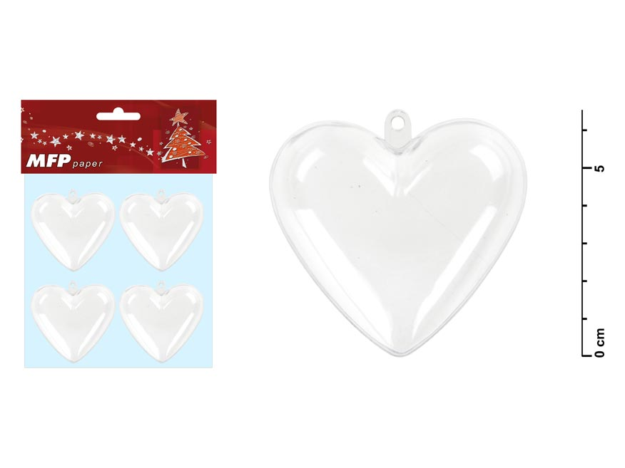 Srdce transparentní set 6,5x6x3,6cm/4ks