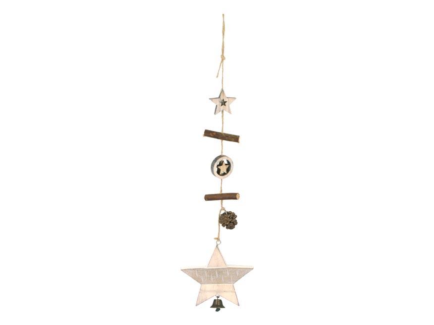 Hvězda závěs dřevěný 10x9,5/45cm HW-54707A