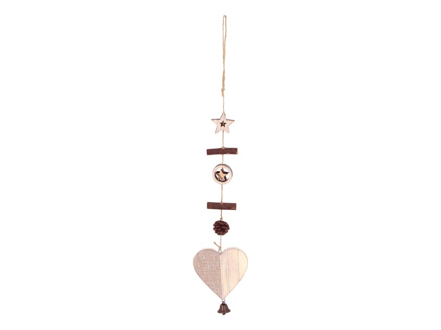 Srdce závěs dřevěné 8,3x8,3/45cm HW-54707C
