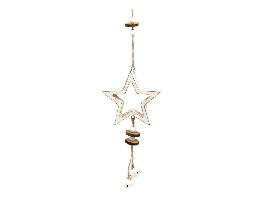 Hvězda závěs dřevěný 11,5x11/37cm HW-54830A