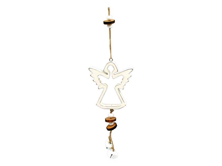 Anděl závěs dřevěný 10x11/37cm HW-54830D