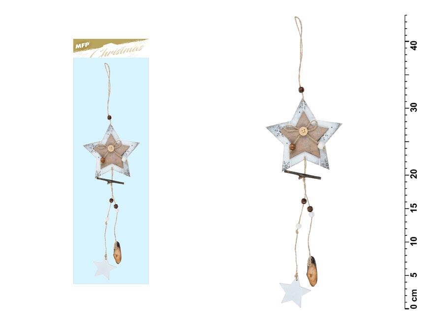 Hvězda závěs bílá 44x12cm JK-6067C