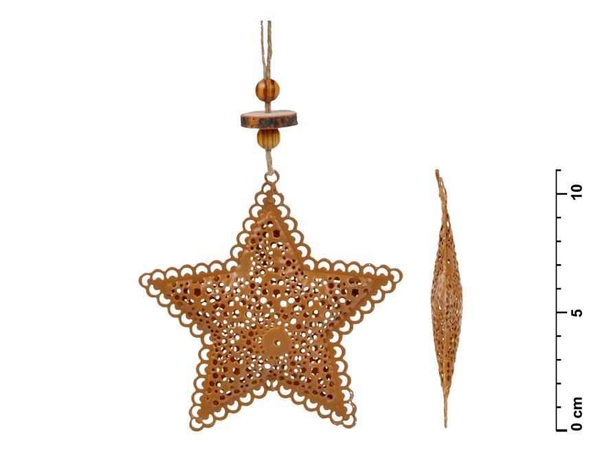 Hvězda závěs plech hnědá 8,5cm