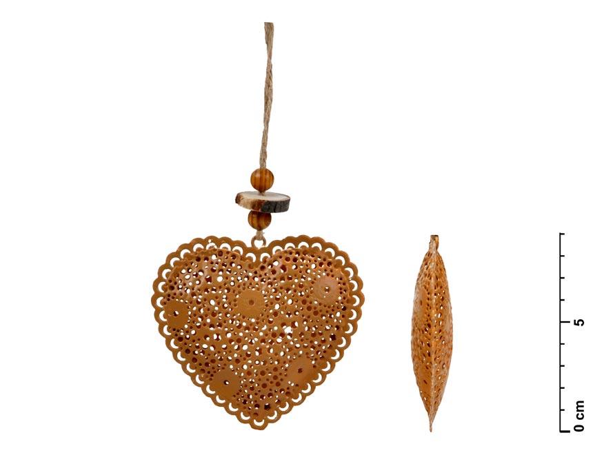 Srdce závěs plech hnědá 8,5cm