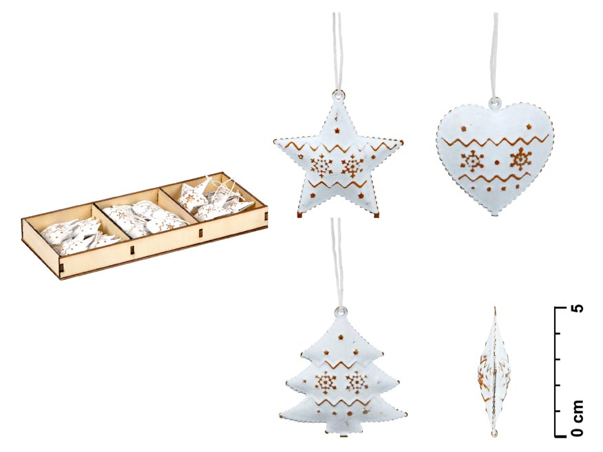 Set závěs 12ks plech bílý ornament 5cm