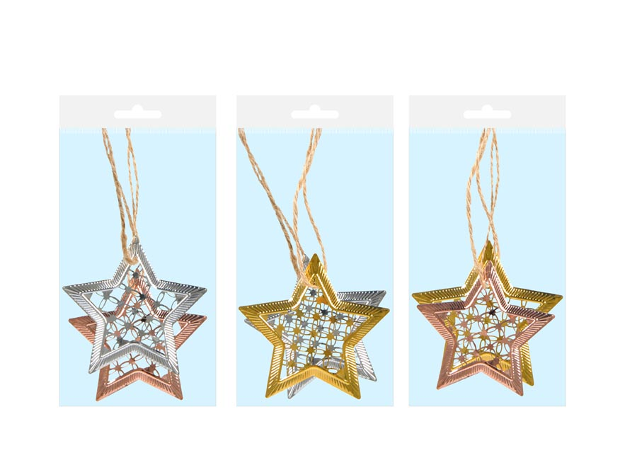 Hvězda kov MIX 7 cm - závěs 2 ks